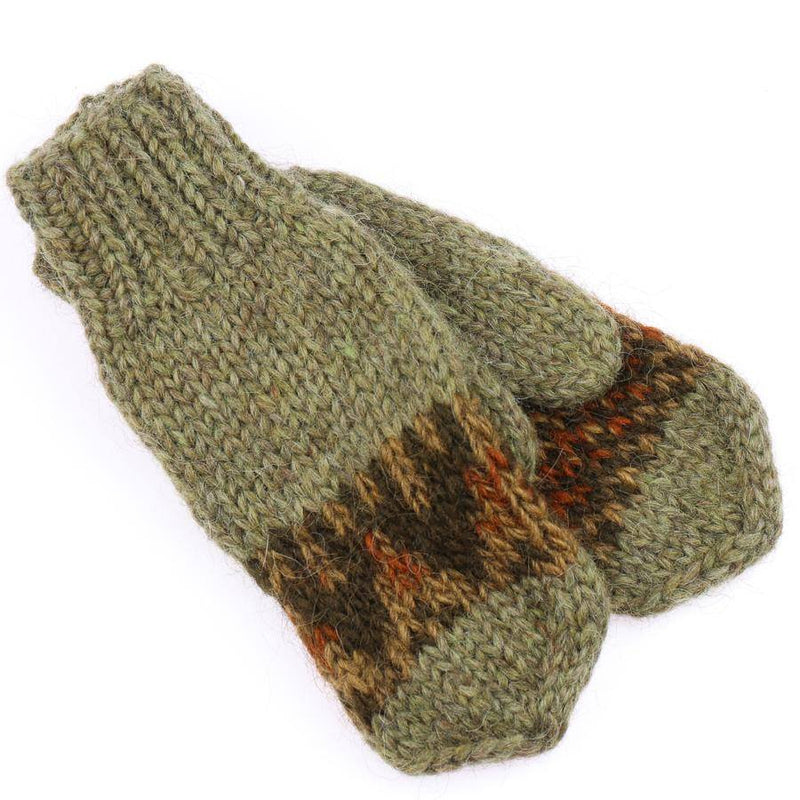 Handknit Wool Mittens - Green - icelandicstore.is