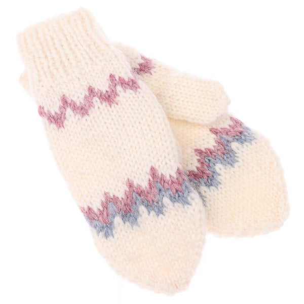 Handknit Wool Mittens - White, Wool Mittens - icelandicstore.is
