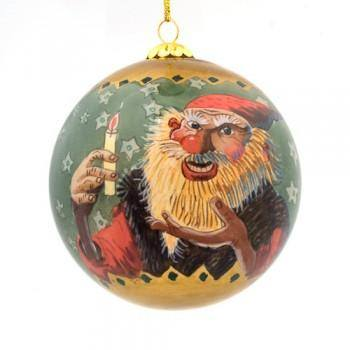 Handpainted Christmas Ball Ornament, Candle Beggar & Yule Lads' Mother, Yule Lad Ornament - icelandicstore.is