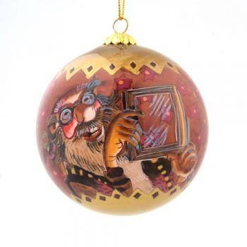 Handpainted Christmas Ball Ornament, Sausage Thief & Window Peeper, Yule Lad Ornament - icelandicstore.is