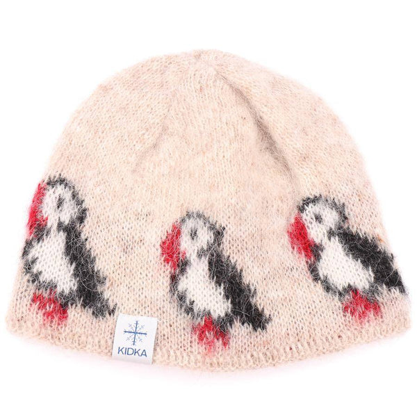 Kidka - Wool Hat - Beige Puffins, Icelandic Wool Hat - icelandicstore.is