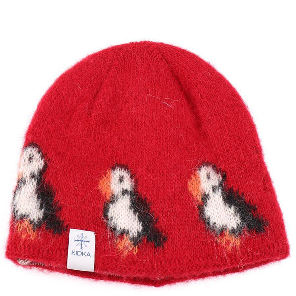 Kidka - Wool Hat - Red Puffins, Icelandic Wool Hat - icelandicstore.is