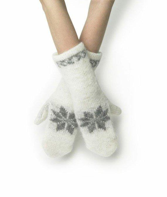 Wool Mittens - White - icelandicstore.is