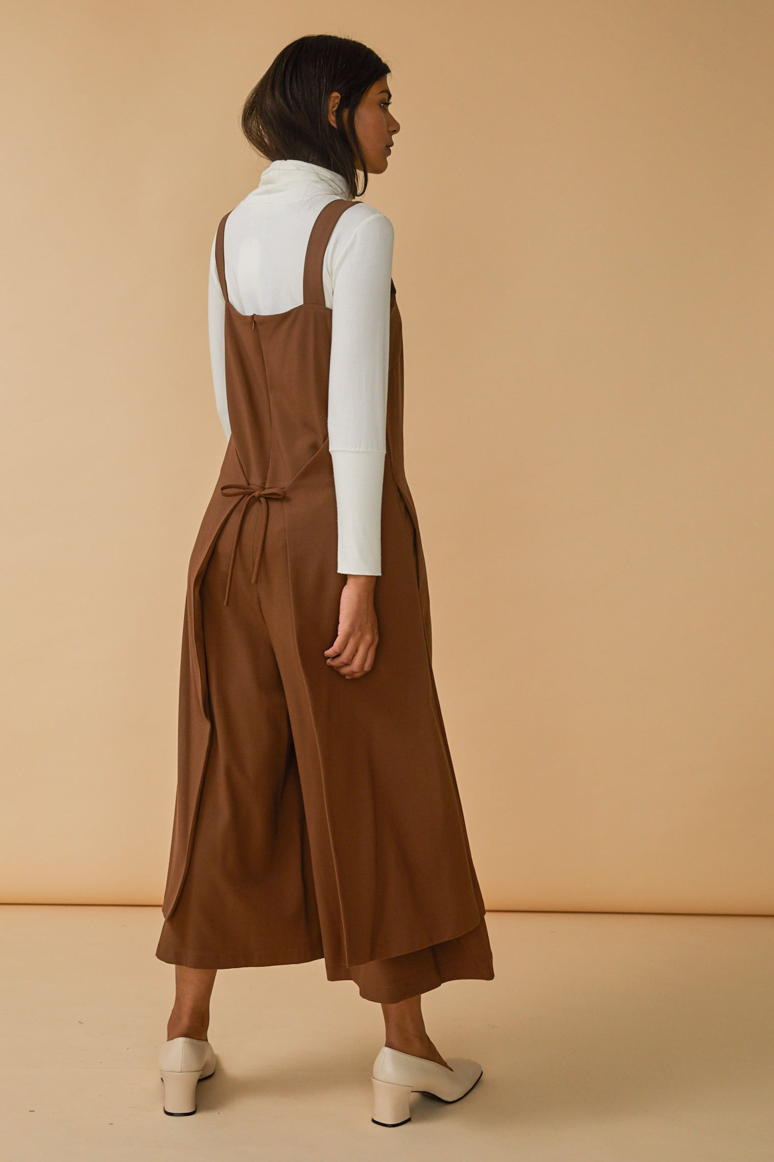 Carol Jumpsuit in Camel Georgette