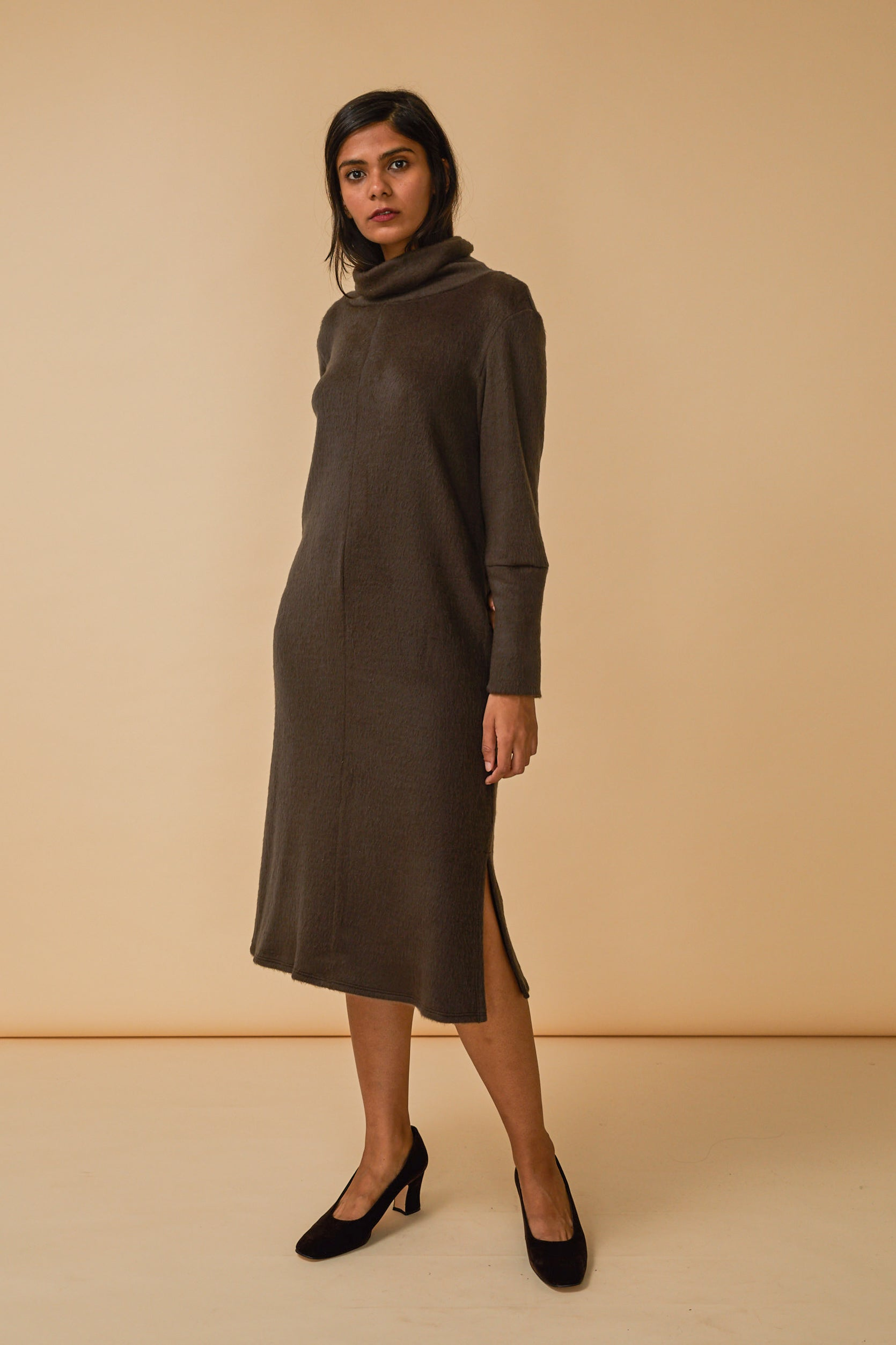 Palmer Turtleneck Dress in Clove Fuzzy Knit