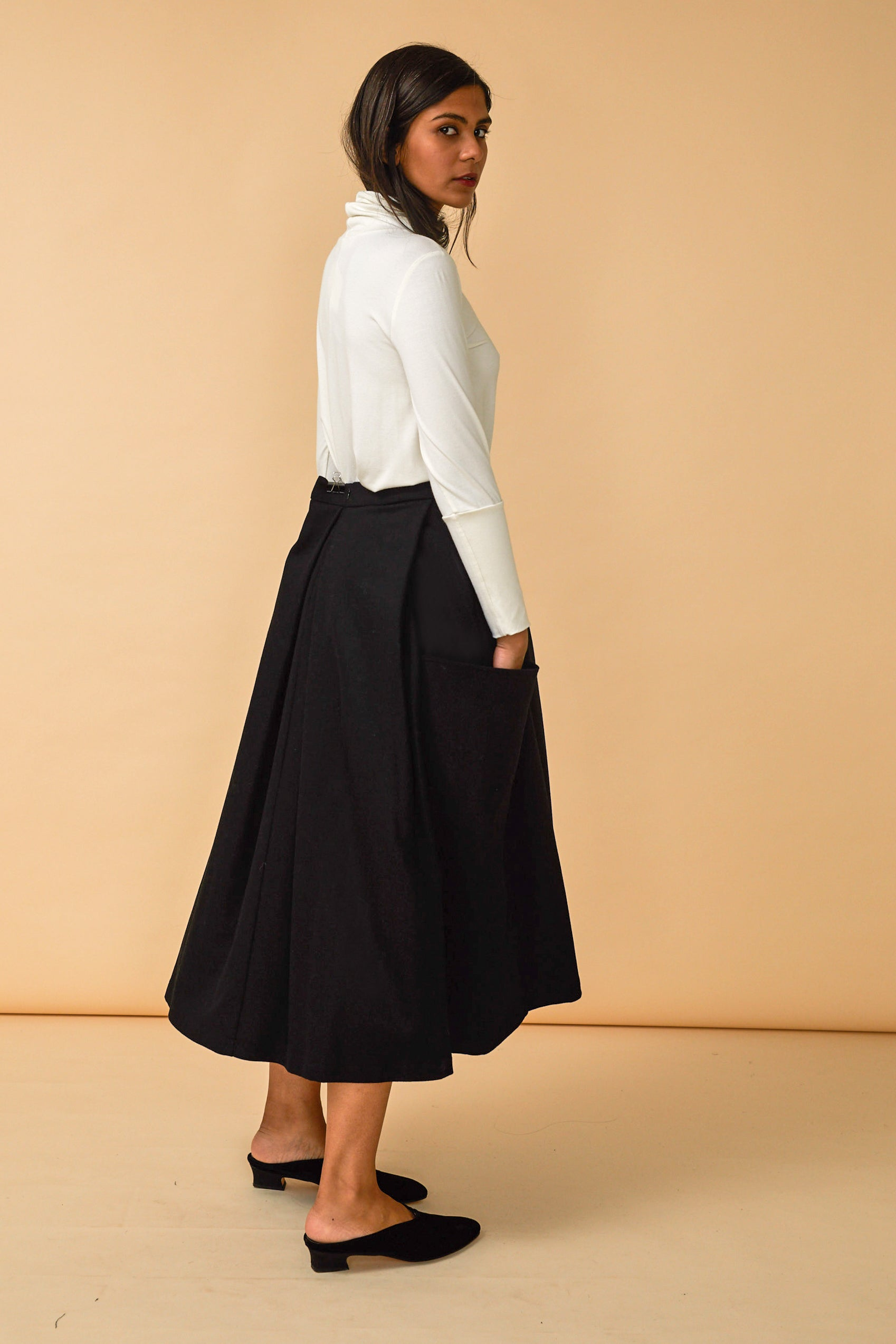 Gladys Skirt in Black Wool Flannel