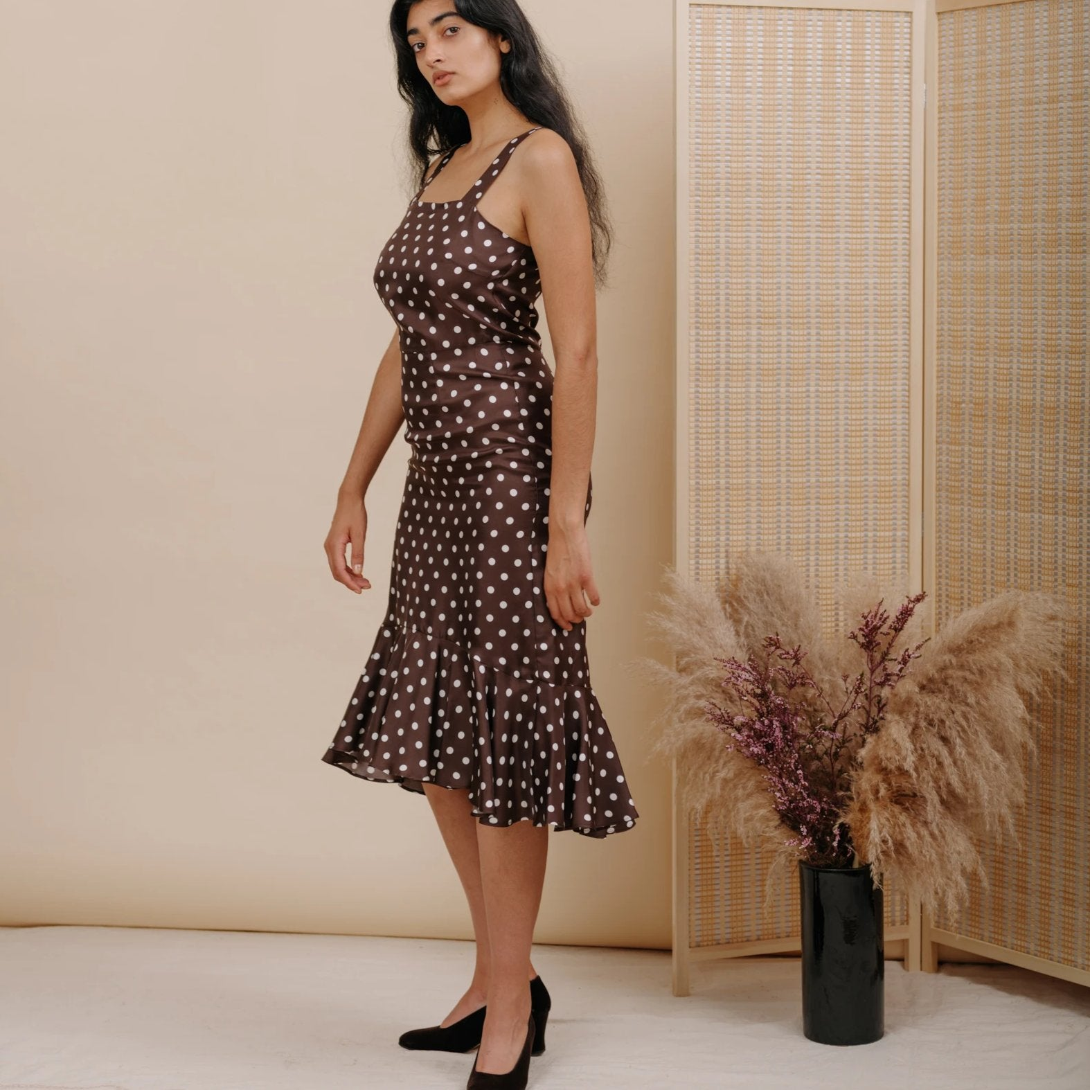 Flo Dress in Brown Polka Dot Silk