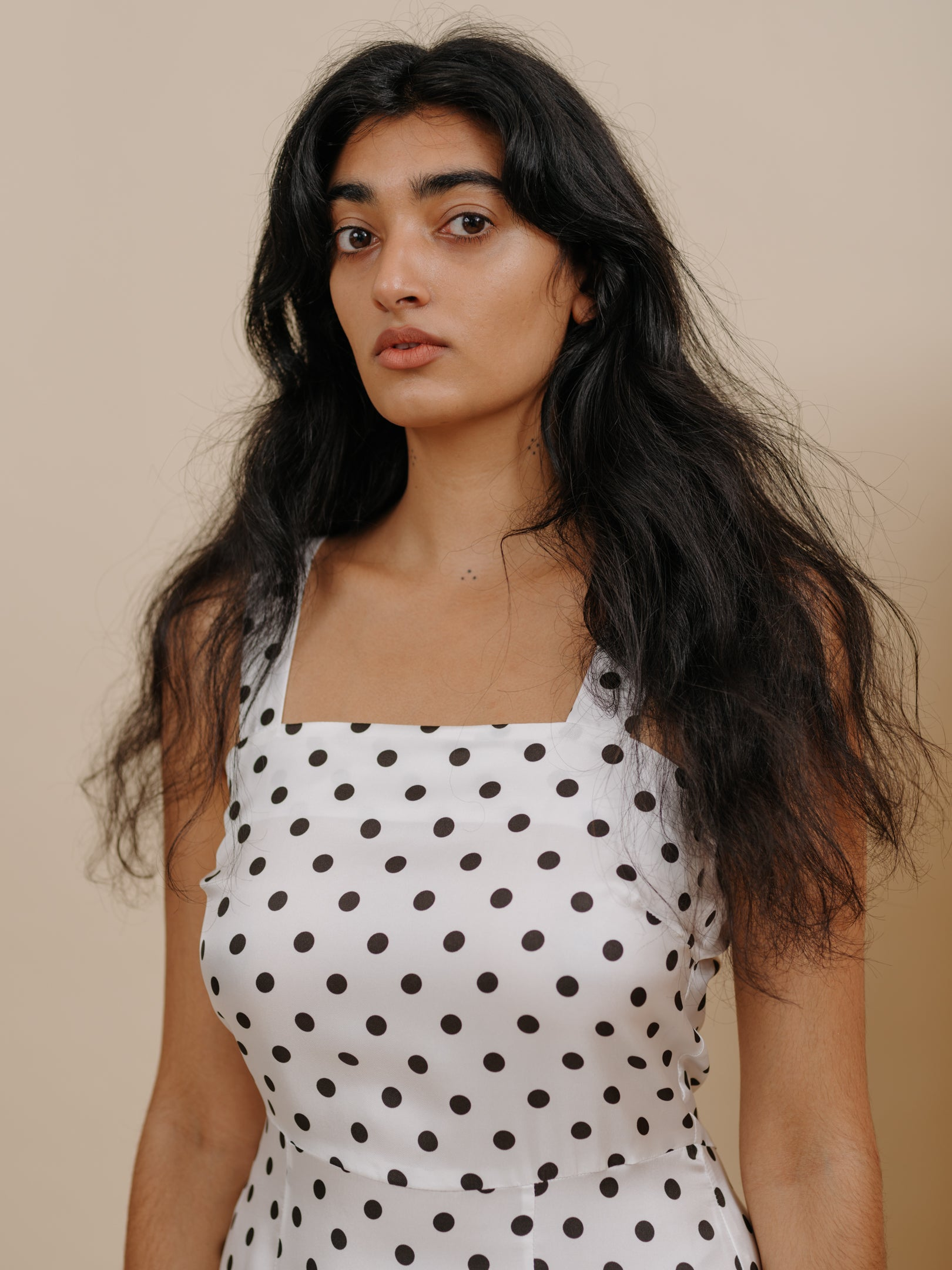 Flo Dress in White Polka Dot Silk