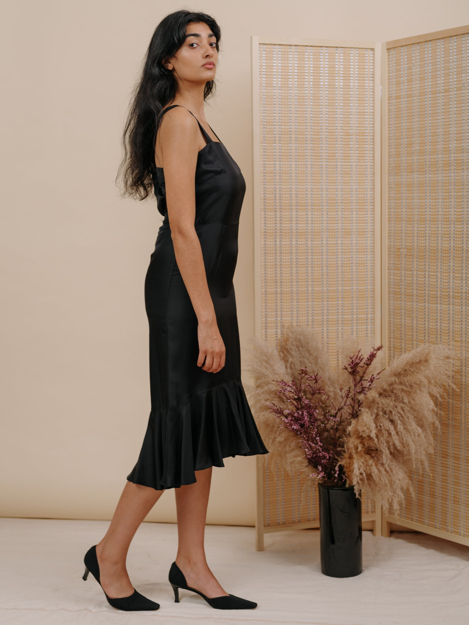 Flo Dress in Black Silk