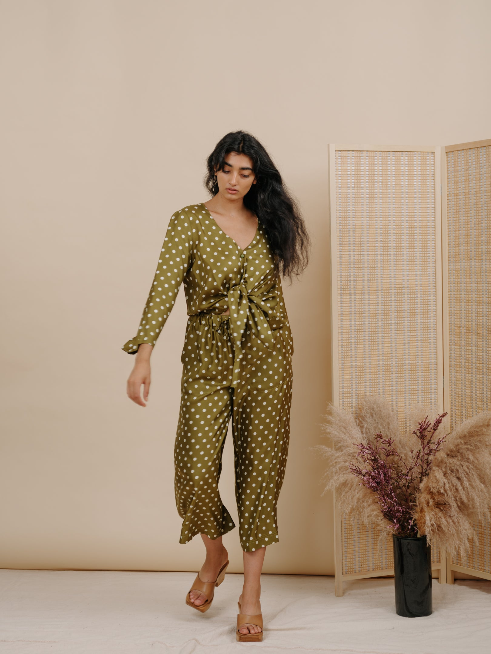 Diane Blouse in Olive Polka Dot Silk
