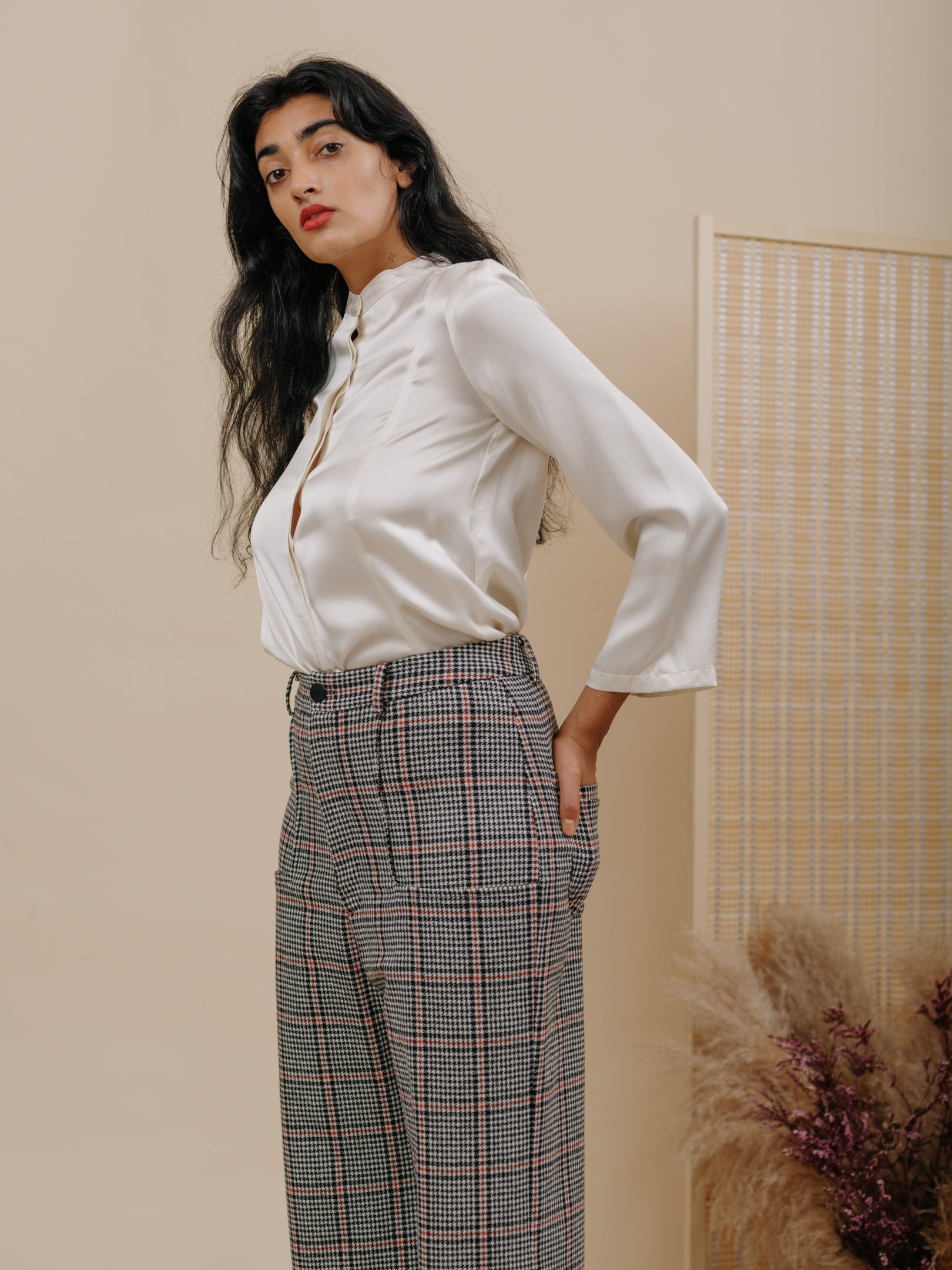 Trumpet Pant in Houndstooth Wool