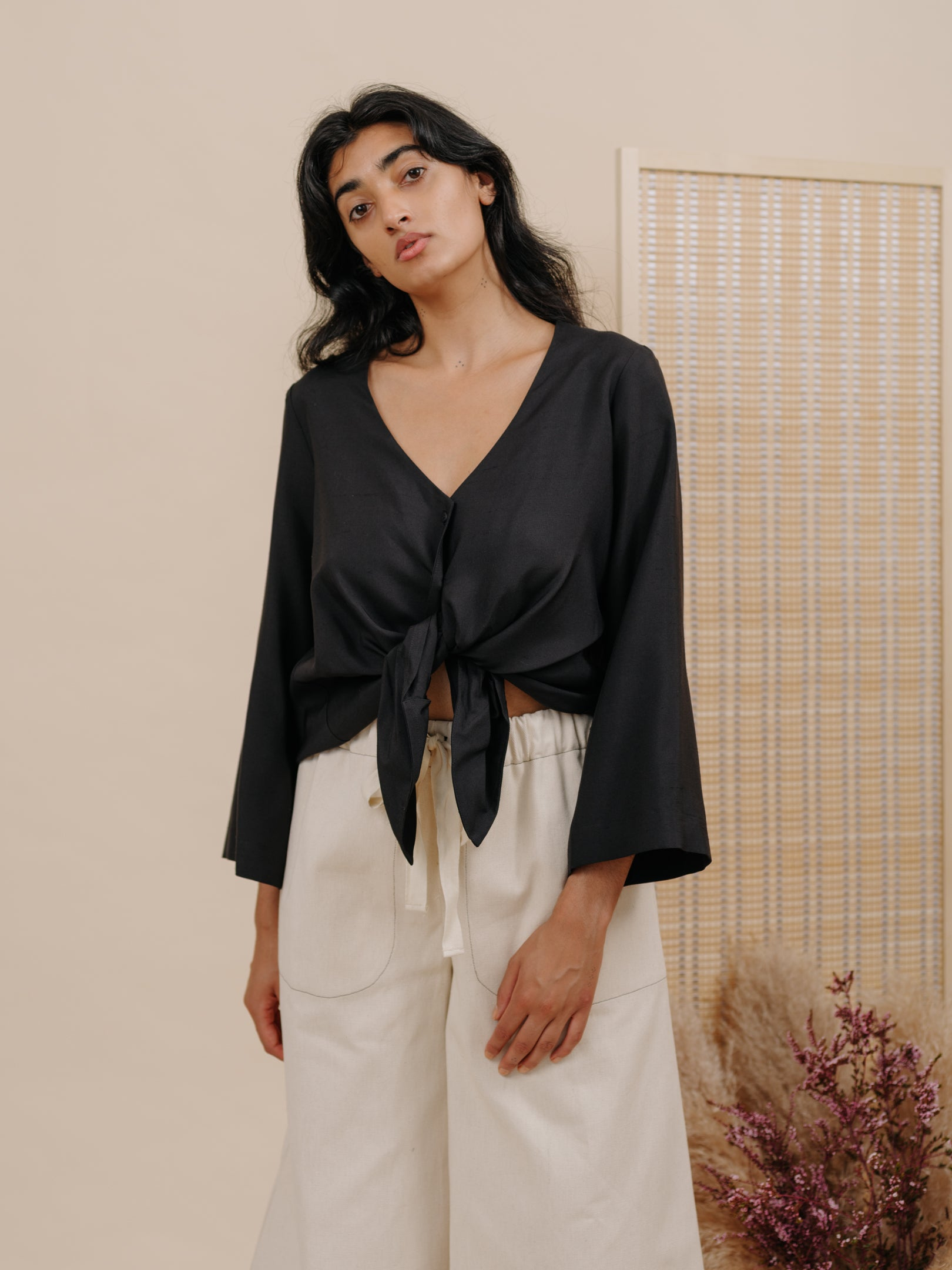 Diane Blouse in Black Silk Dupioni