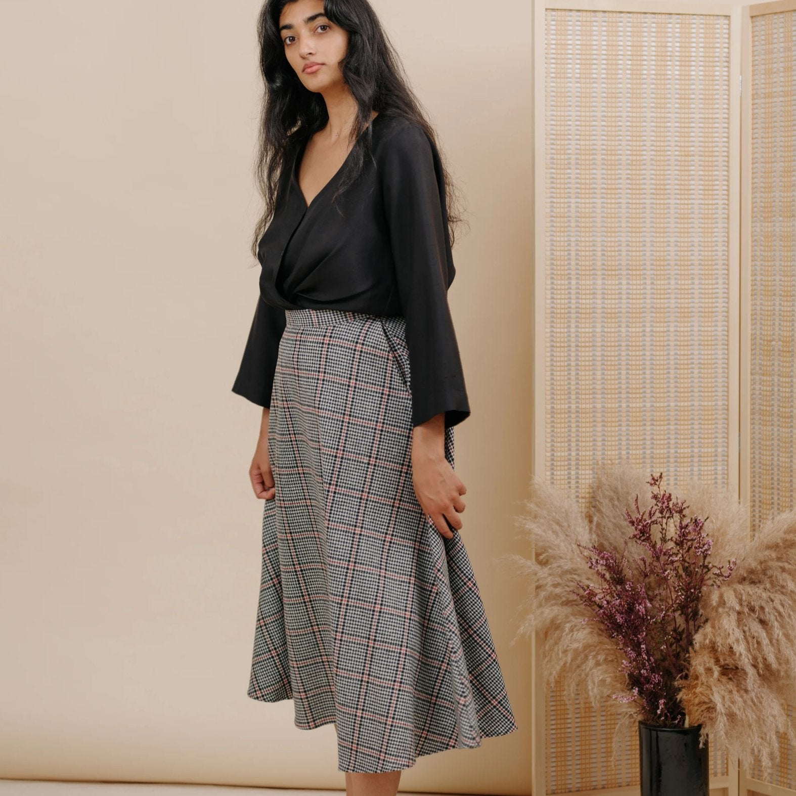 Shadow Skirt in Houndstooth Wool