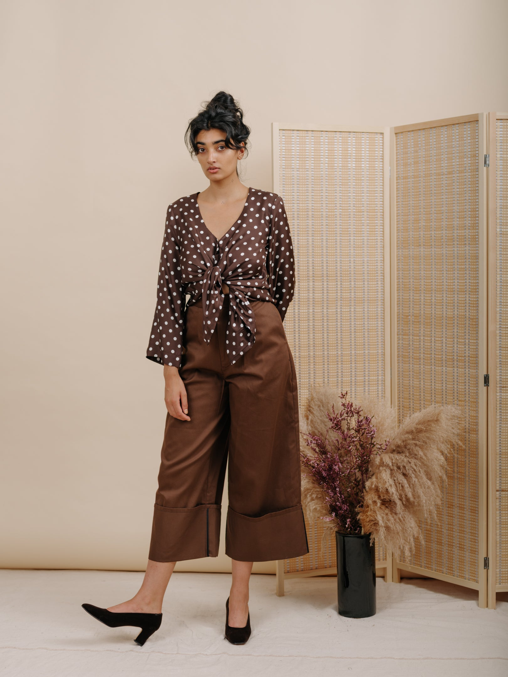 Diane Blouse in Brown Polka Dot Silk