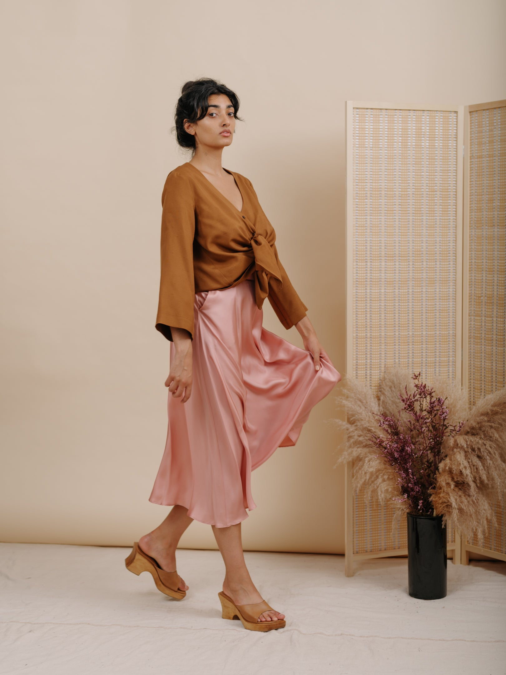 Shadow Skirt in Pink Silk