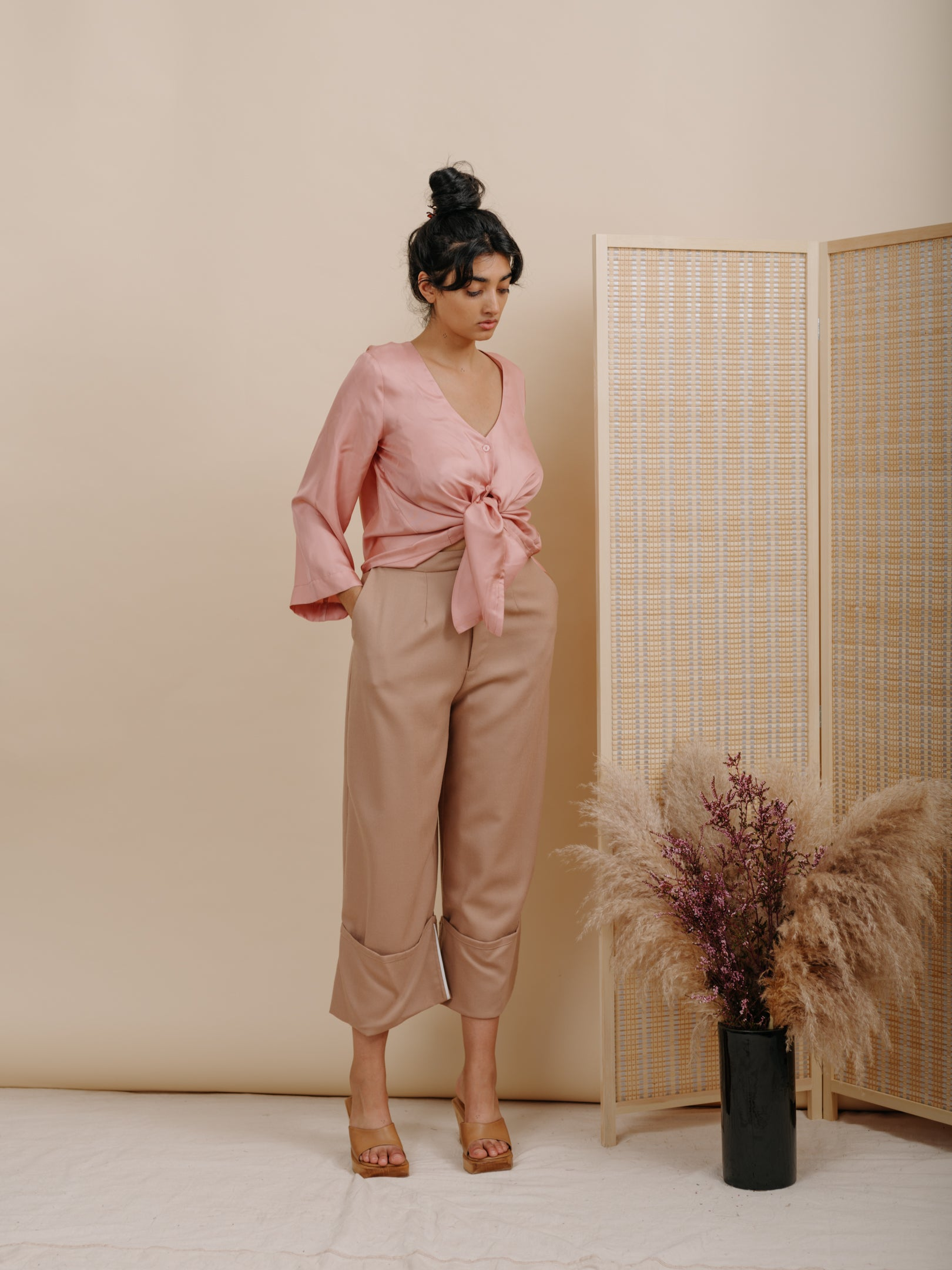 Georgia Cuff Pant in Camel Wool
