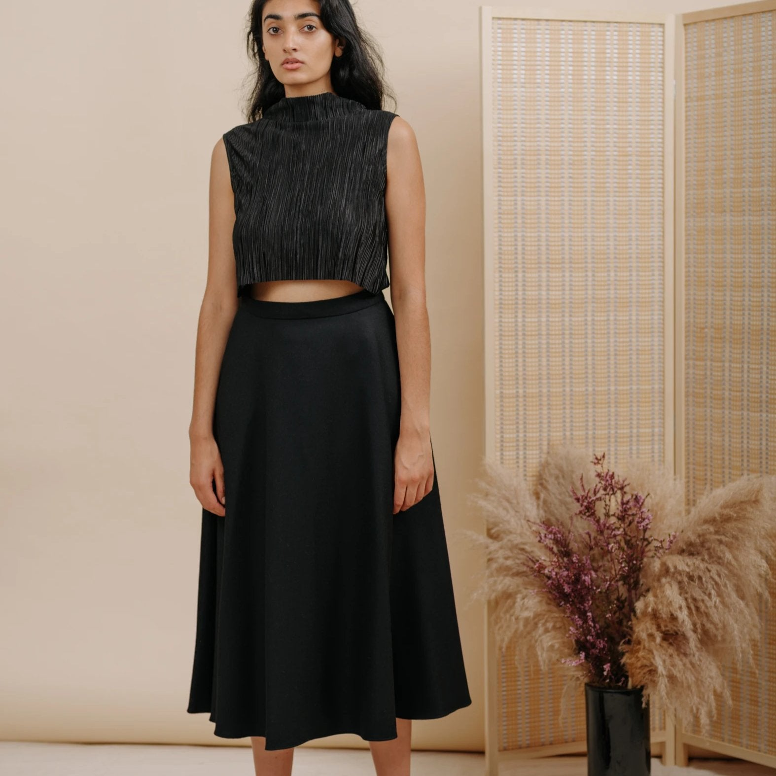 Shadow Skirt in Black Wool