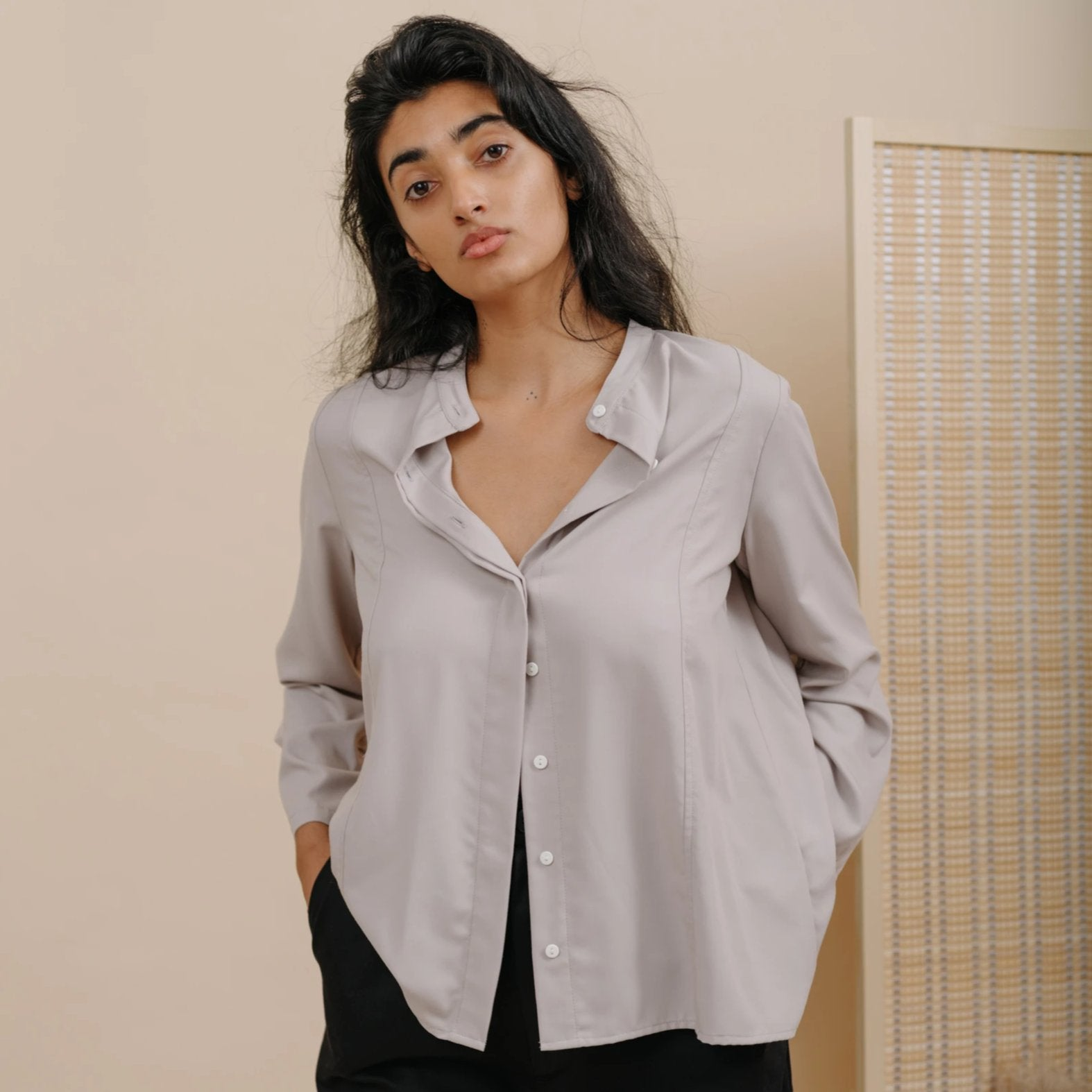 Jim Blouse in Dime Rayon Twill