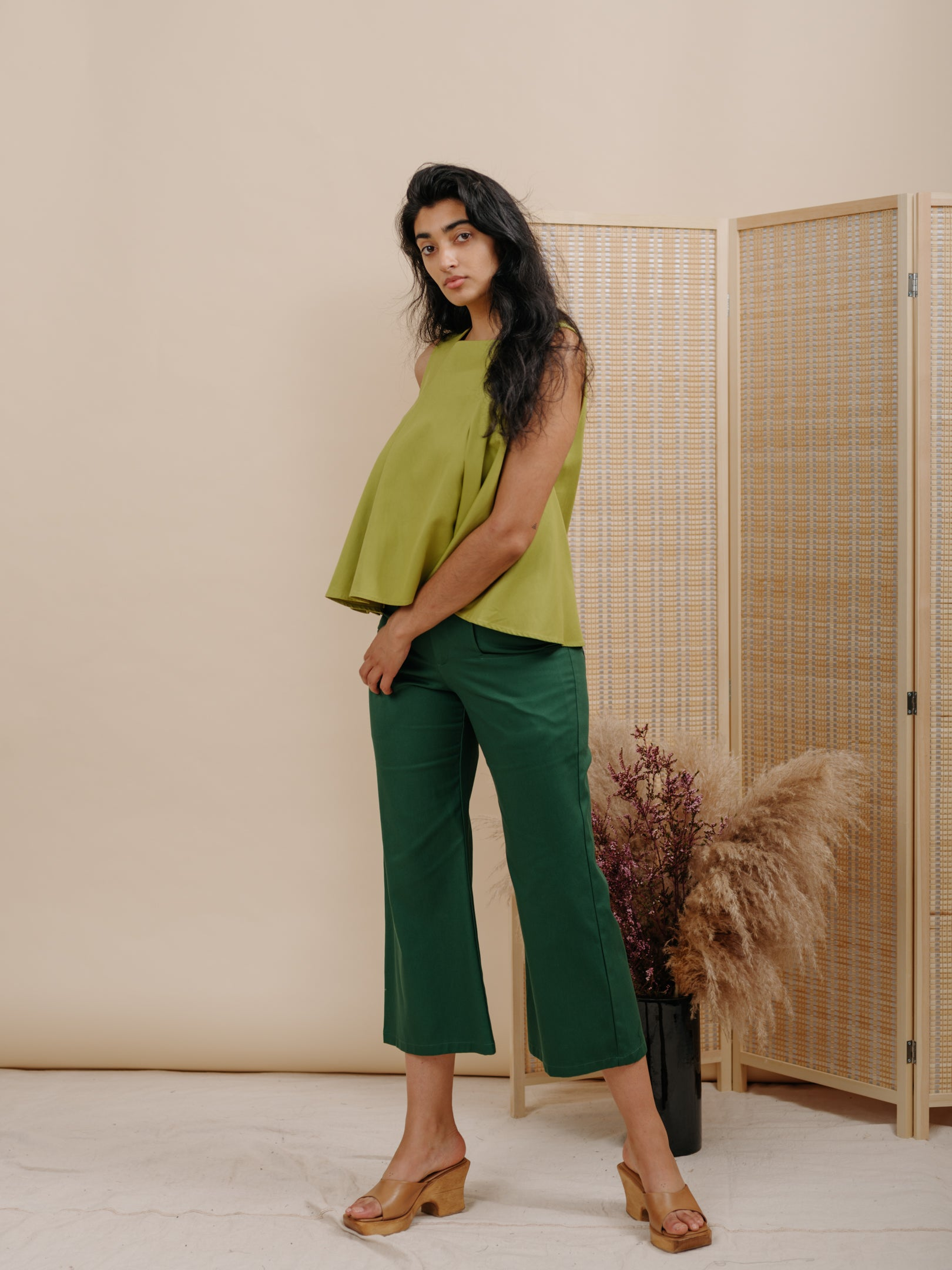 Ella Top in Green Cotton Twill