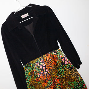Dress with black top and floral skirt