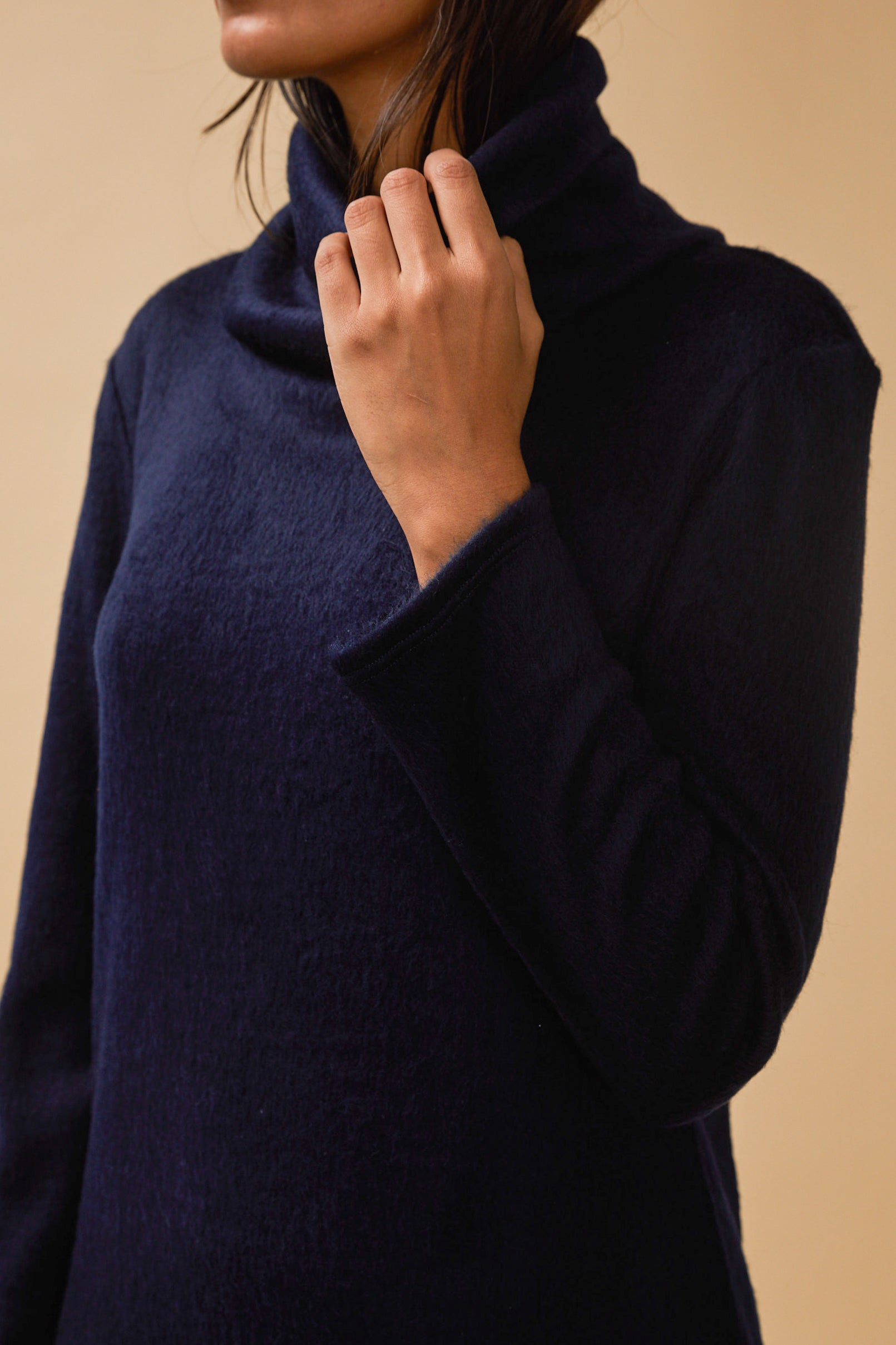 Palmer Turtleneck Dress in Navy Fuzzy Knit