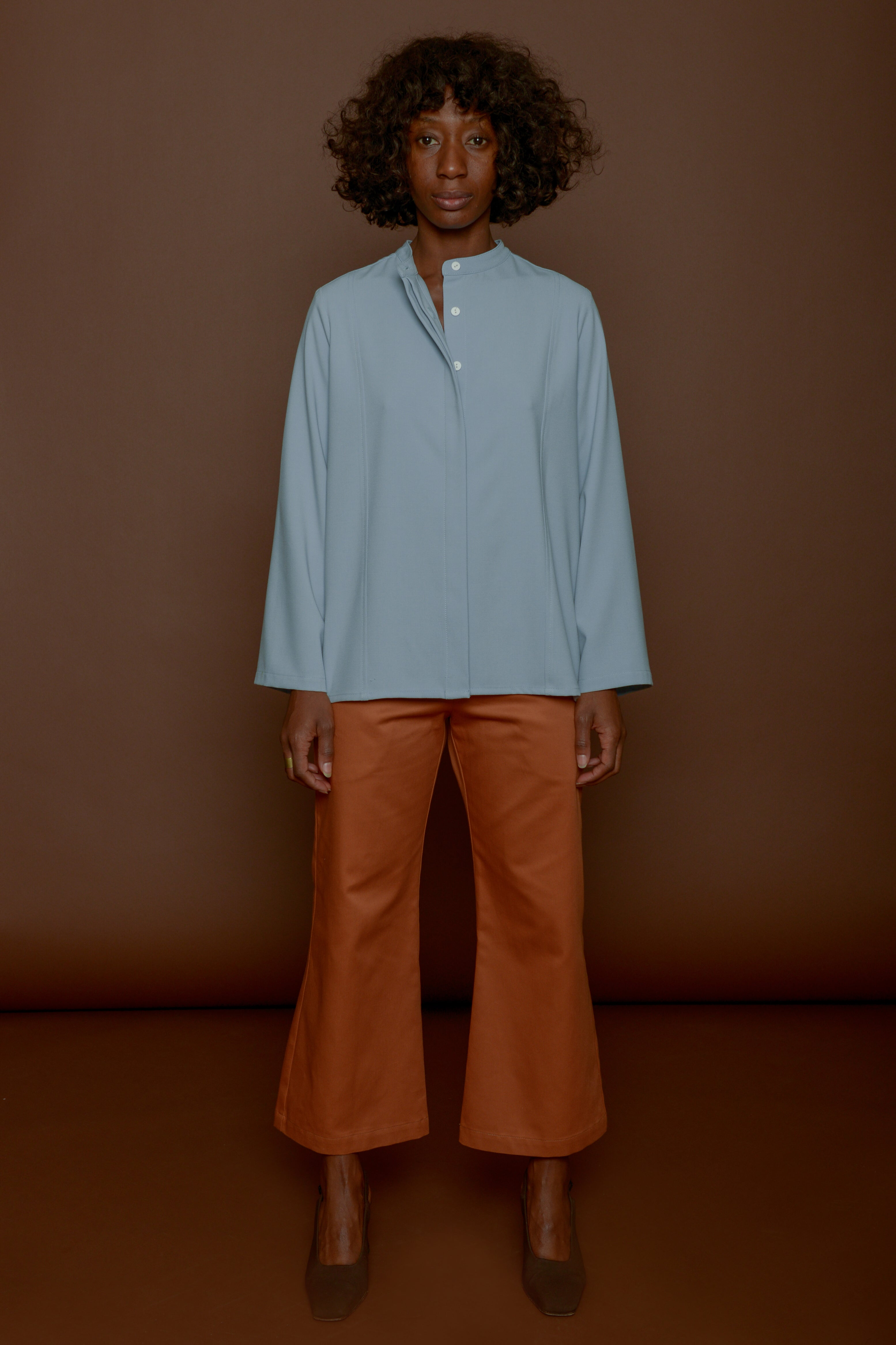 Trumpet Pant in Tangerine Cotton Twill