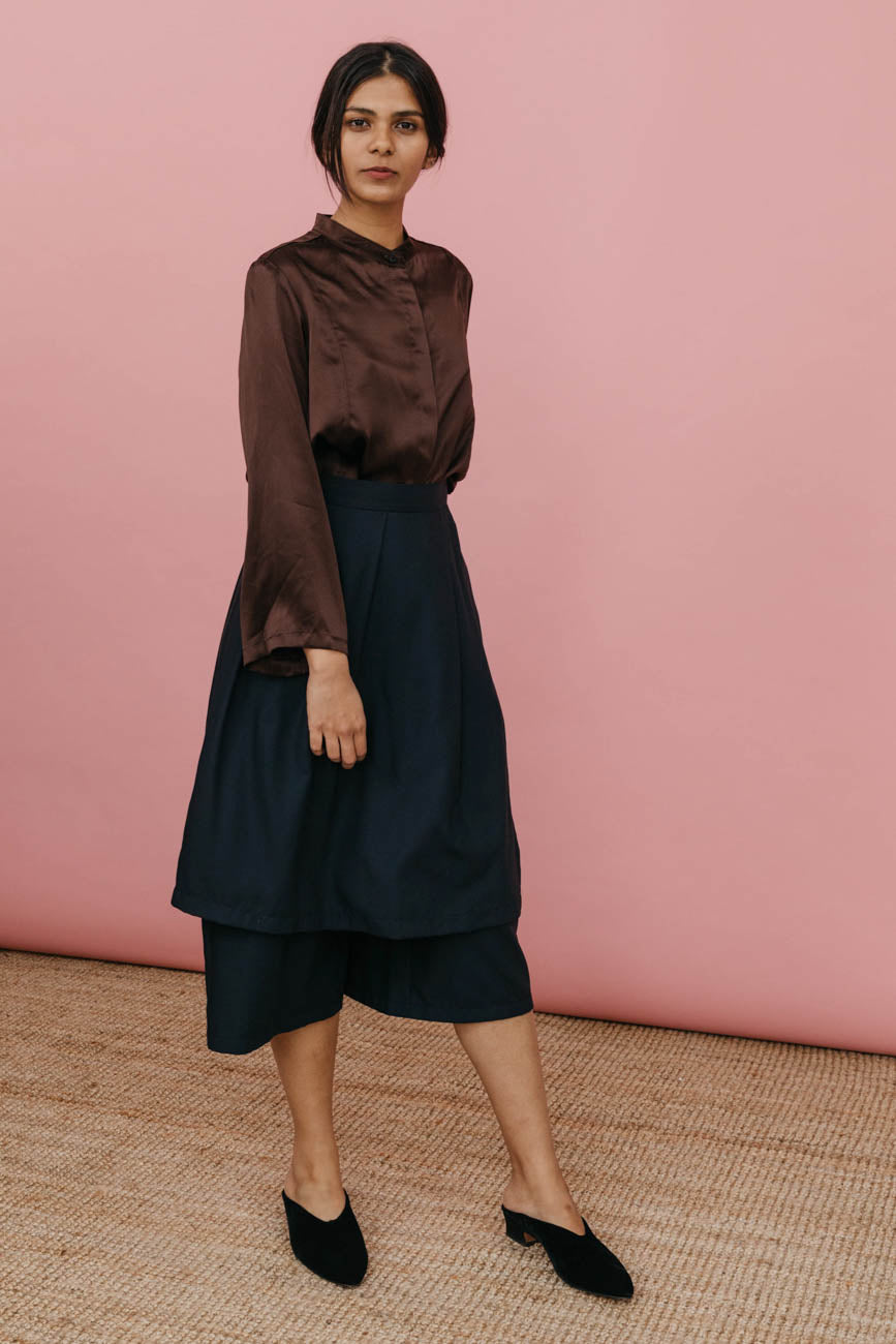 Jane Skirt-Pant in Navy Rayon Twill