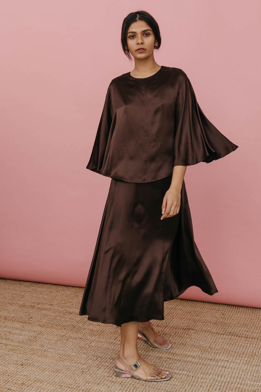 Kepu Dress in Brown Silk Charmeuse
