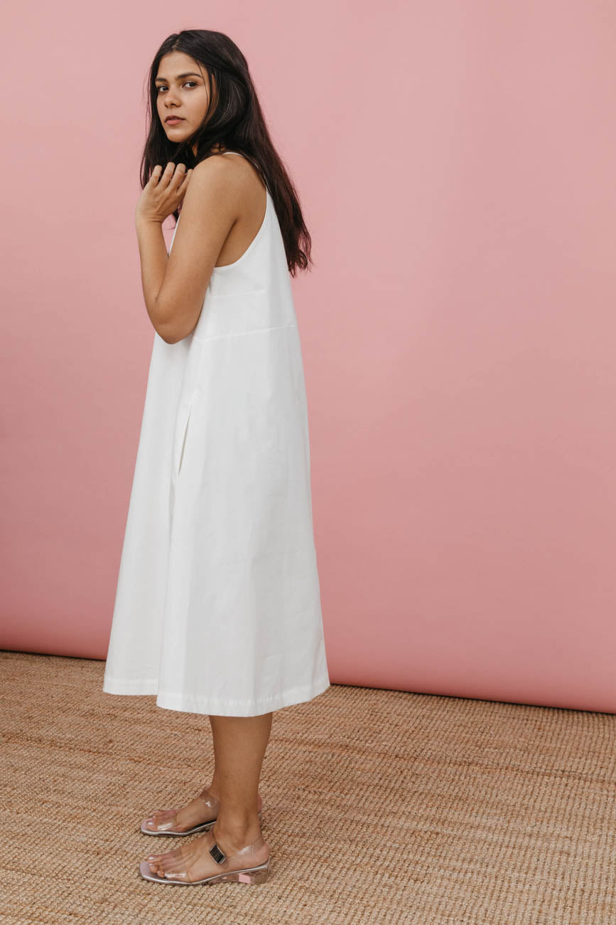 Joni Dress in White Cotton