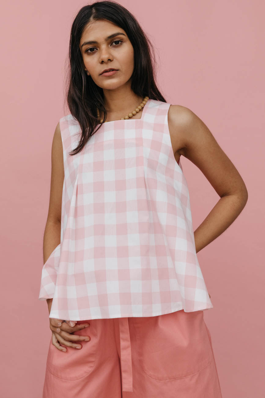 Ella Top in Pink Cotton Gingham