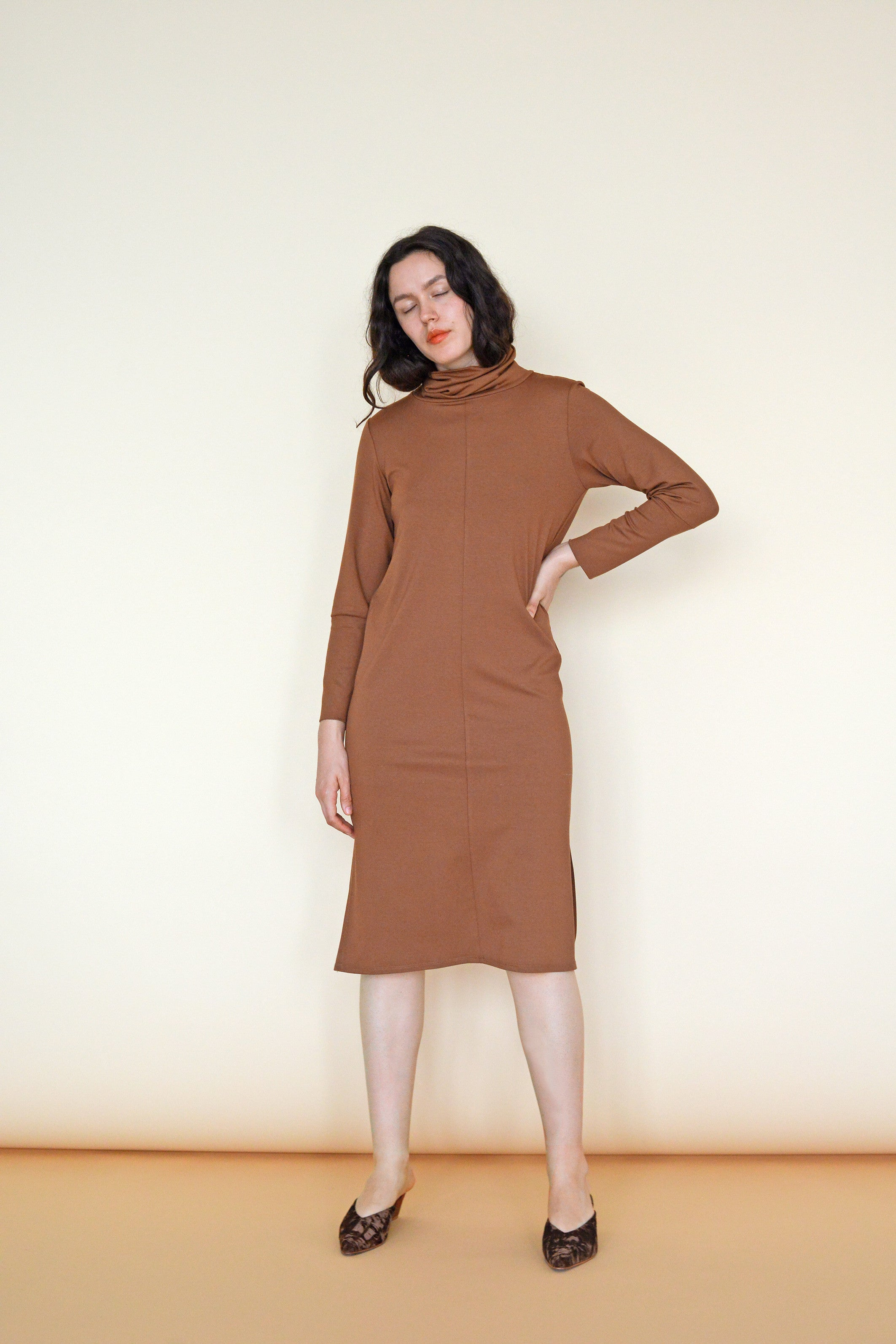Palmer Turtleneck Dress in Penny Jersey Knit