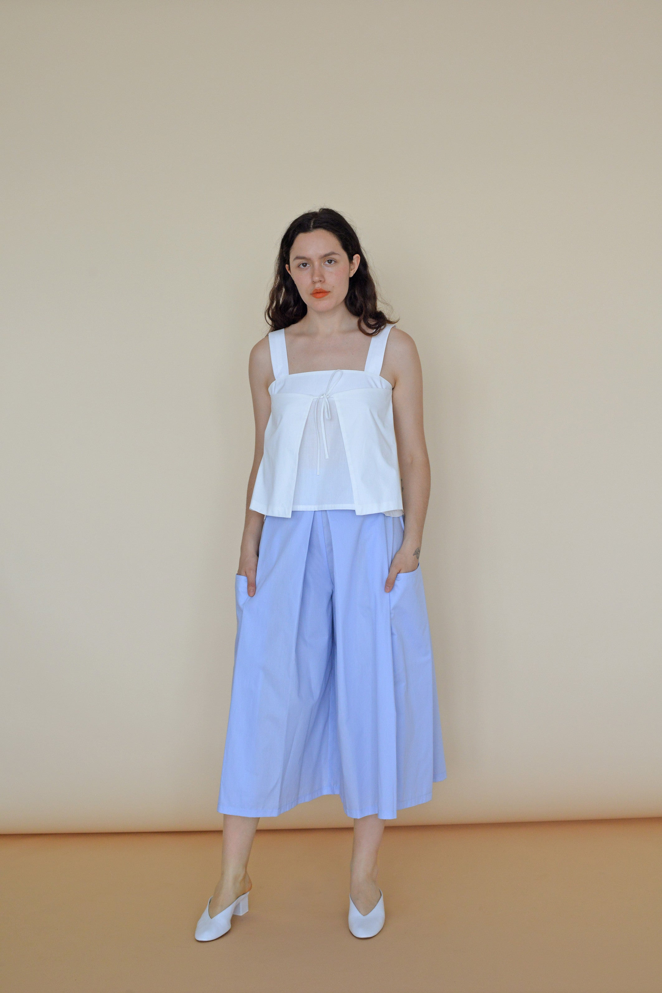 Carol Tank in White Poplin Cotton