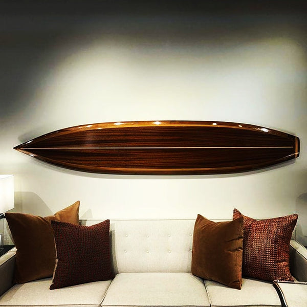 Wood surfboard wall art home decor custom interior surf board
