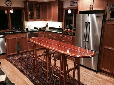 wood surfboard bar top table