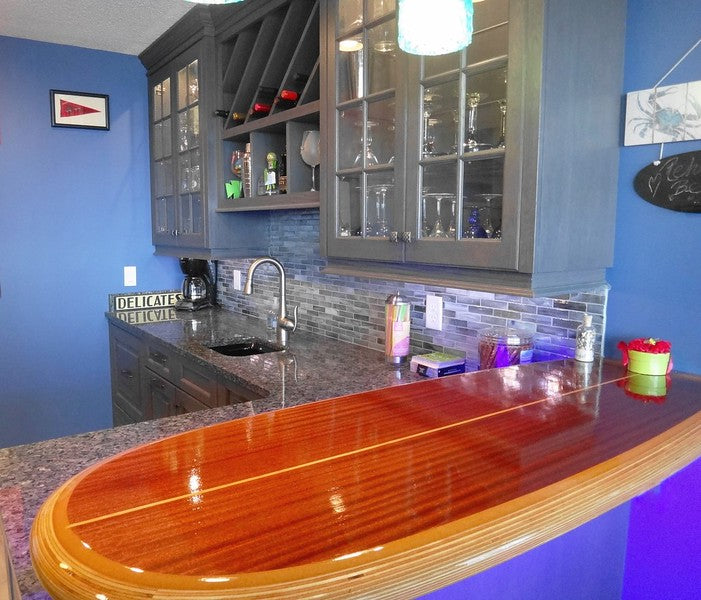 wooden surfboard for a bar