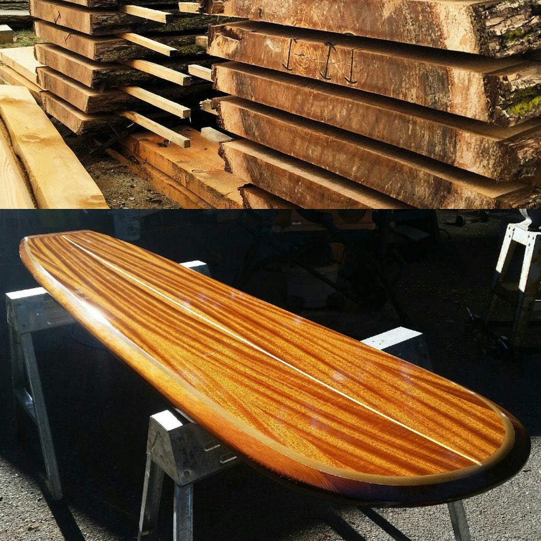 wooden surfboard bar table