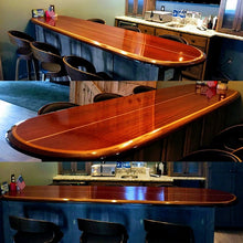"7'3"" x 20"" x 2.1/2"" custom extra width bar-table, ready to mount, wood surfboard wall art home decor wall mount"