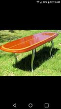 "4'3"" x 18"" x 2.1/2"" The ""Santa Cruz"" California redwood surfboard, bar table ready to add any type of base or legs at www.tablelegsonline.com wood surfboard wall art home decor"