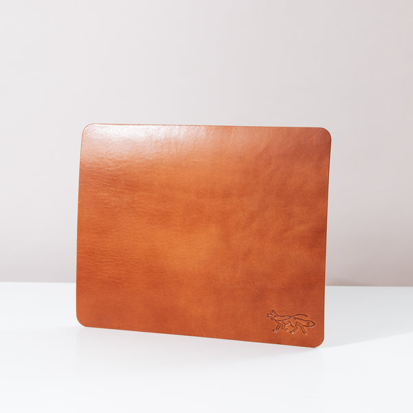 Large Leather Mousepad - Cognac