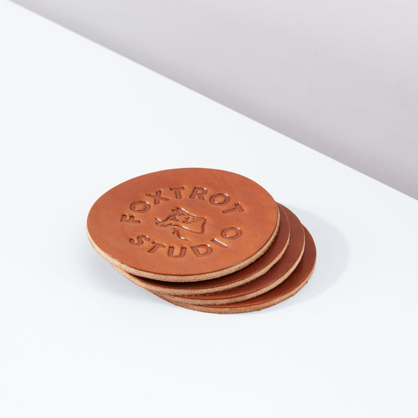 Logo Coaster Set - Cognac