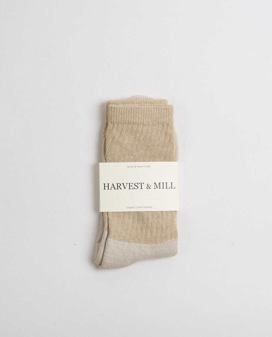 Organic Cotton Crew Socks - Tan Green