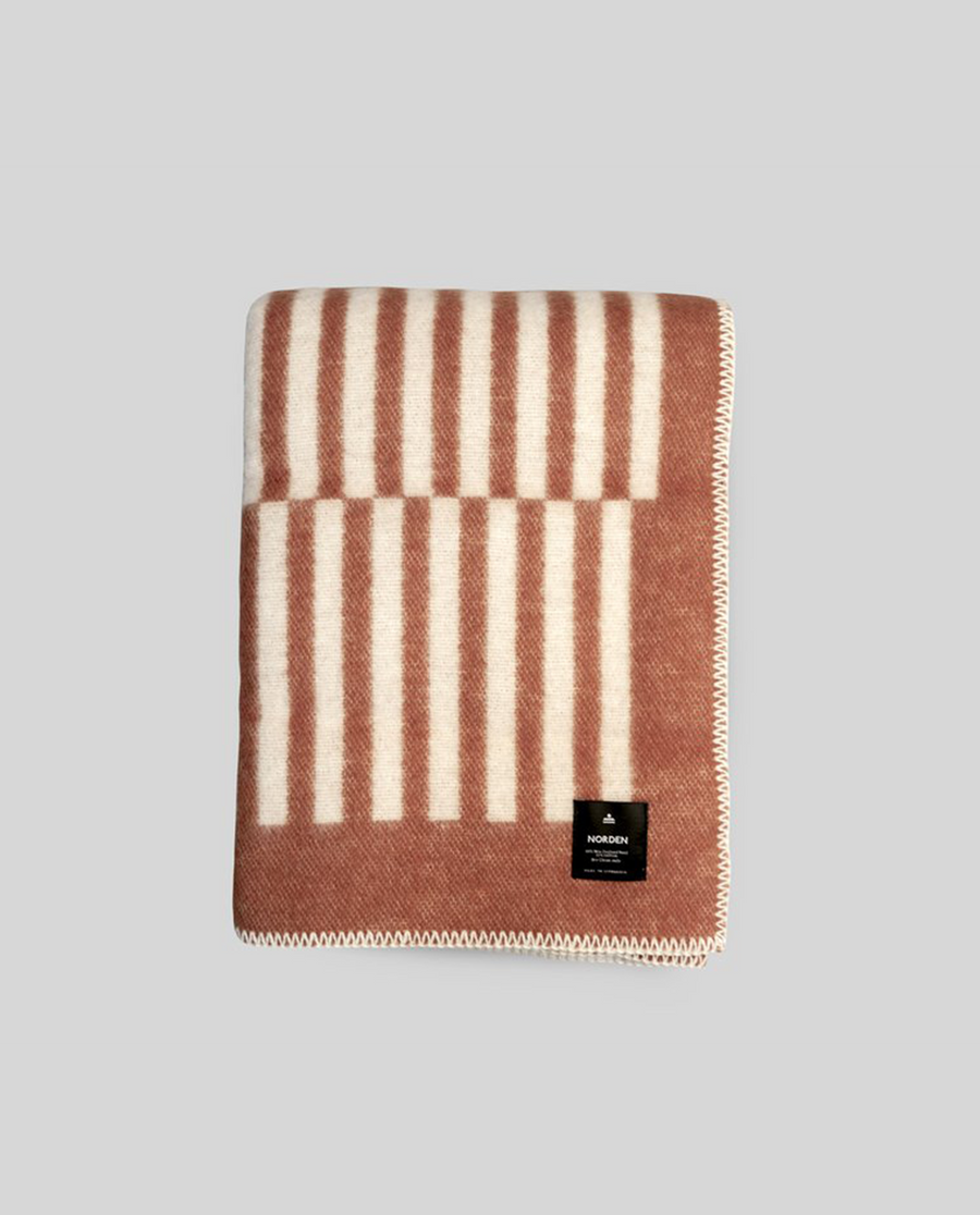 Norden Norrebro Wool Throw Blanket - Terracotta
