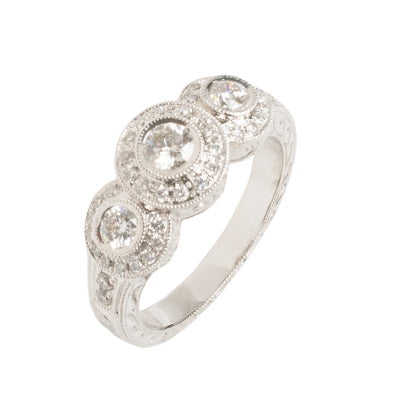 14kt White Gold Three Diamond Halo Ring