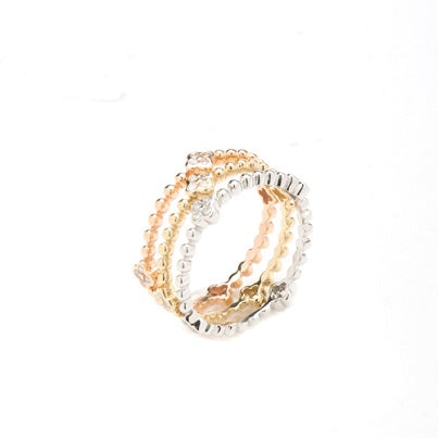 14kt Tri-Color Diamond Stackable Rings