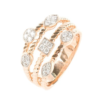 14kt Rose Gold Three Row Diamond Ring