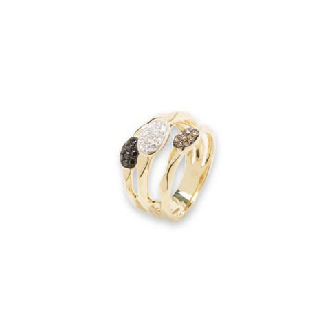 14kt Black Chocolate And White Diamond Ring