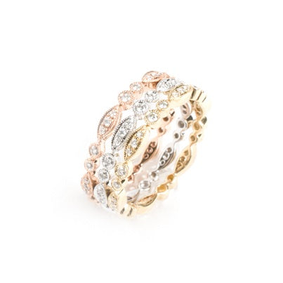 Three 14kt Tri Color Diamond Stackable Rings