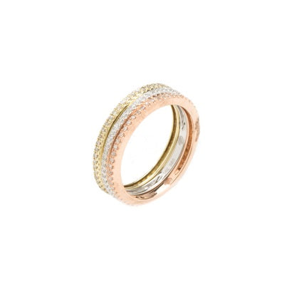 14kt Tri-Color Gold Stackable Diamond Bands