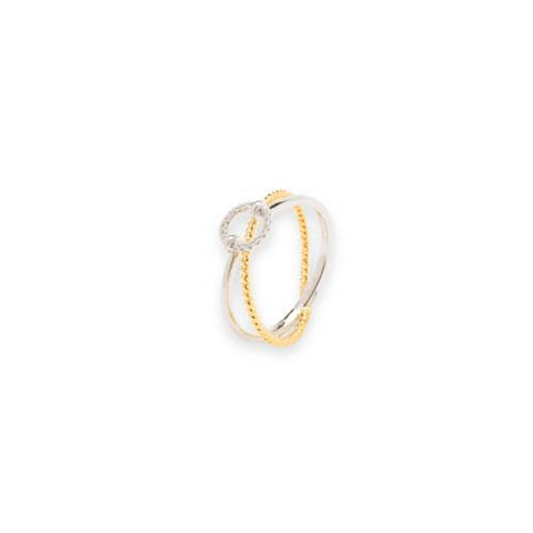 14kt Two-Tone Diamond Circle Ring