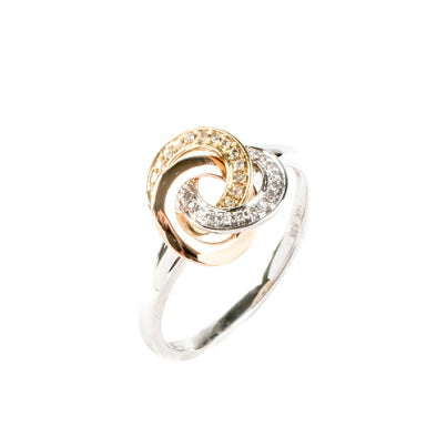 14kt Tri- Color Diamond Knot Ring